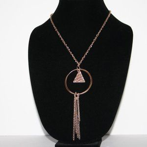 Long rose gold necklace with triangle charm
